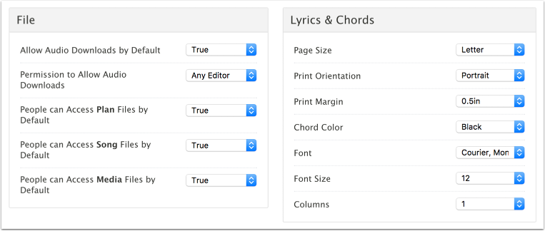 File, Lyrics & Chords Settings