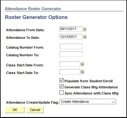 Roster Generator Options