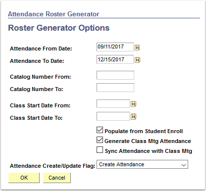 Roster Generator Options