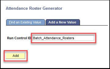 Attendance Roster Generator - Add button