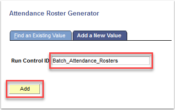 Attendance Roster Generator - Add button