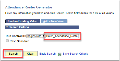 Attendance Roster Generator - Search button