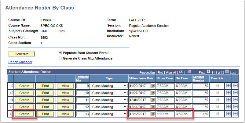 Attendance Roster By Class Create button