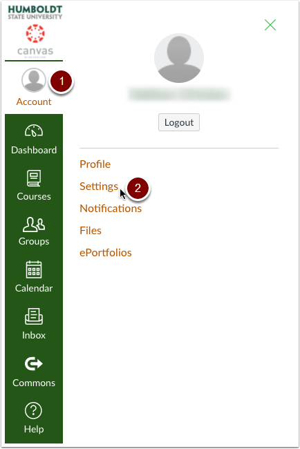 Select settings in you Canvas Account.