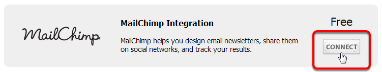 Click Connect on the MailChimp Integration