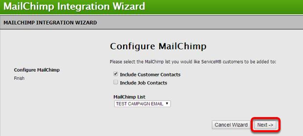 Configure MailChimp, click Next