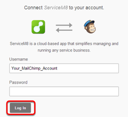 Type your MailChip's account and password and click Login