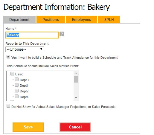 Edit department information.