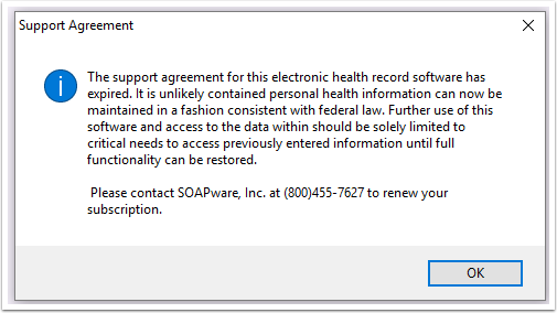Support agreement message