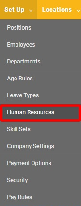 "Go to the ""Human Resources"" page."