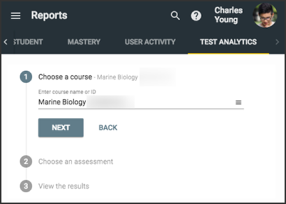 the test analytics tab from the reports menu shows the Marine biology course chosen