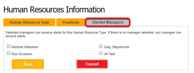 Choose which managers receive alerts.