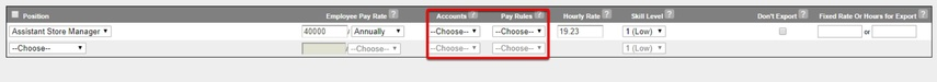 Select the account type and overtime rules.