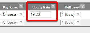 """Notice the """"Hourly Rate"""" box."""