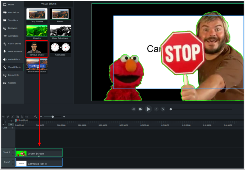 Removing the green color from the video