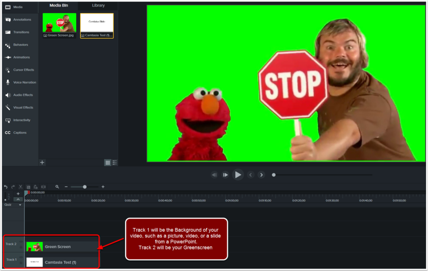 Video recorded on a green screen