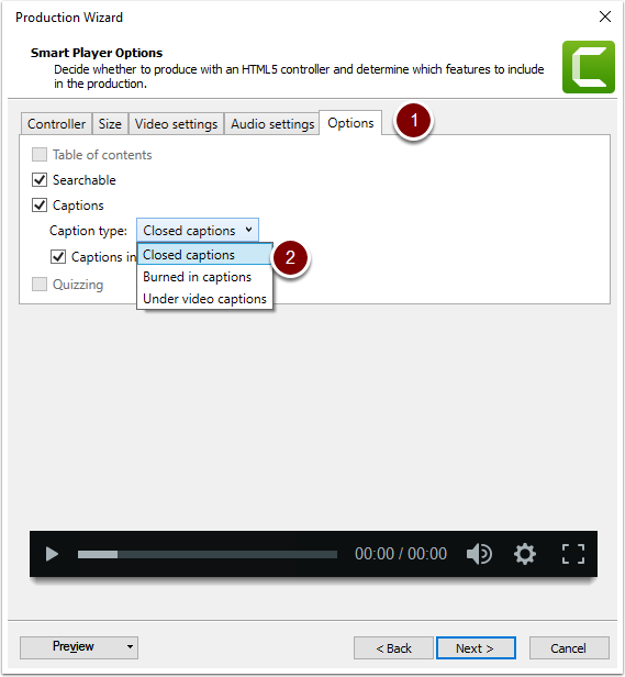In Production Wizard window, select Options then chose your caption type.