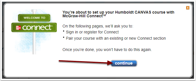 McGraw-Hill Connect Continue pairing button