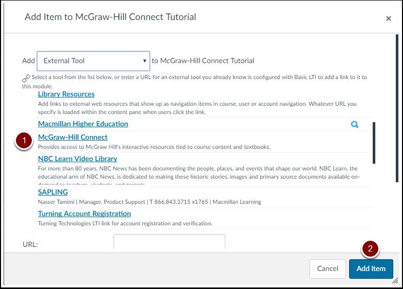 Add McGraw-Hill Connect Module Item