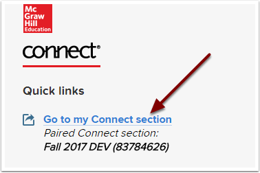 McGraw-Hill Connect Go to my Connect Section screen