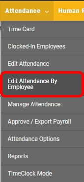 "Go to the ""Edit Attendance by Employee"" page."