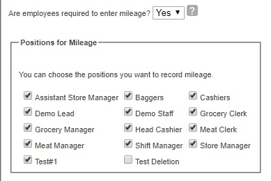 Choose positions for tips and mileage.