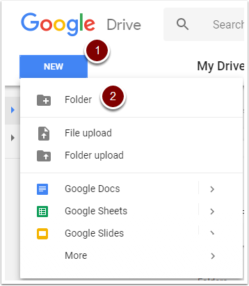 Google Drive : New -> folder