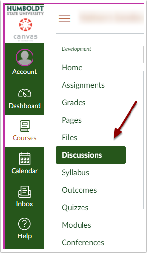 Canvas course navigation menu