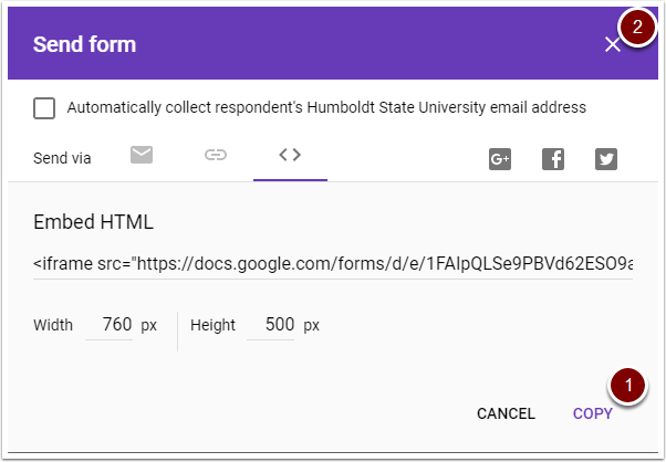 Google Form embed options window
