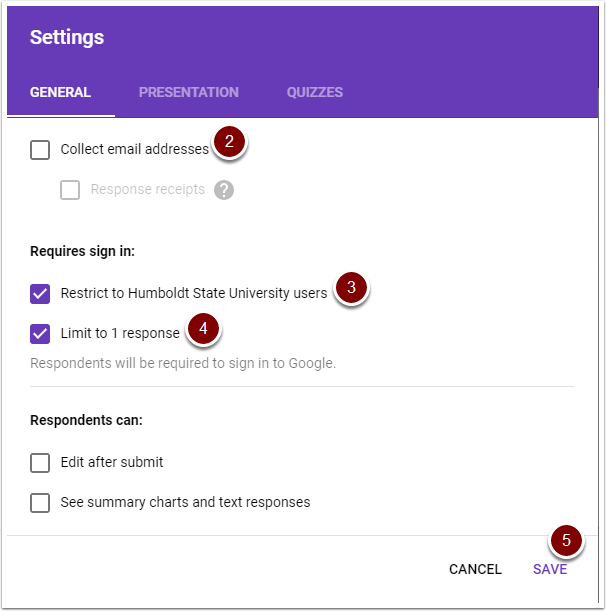 Google Form settings window