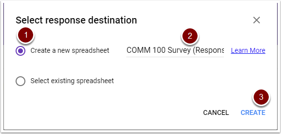 Google Forms response destination window