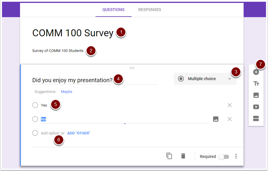 Google Form questions creation