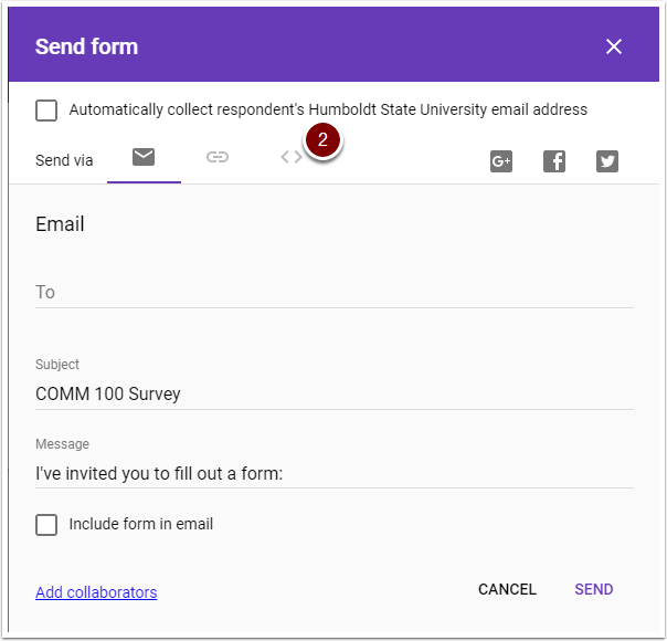 Google Form SEND options window with embed button