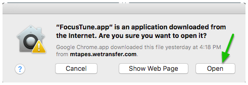 Apple GateKeeper Dialog Box