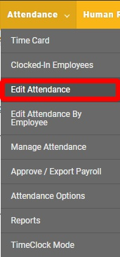 "Navigate to the ""Edit Attendance"" page."
