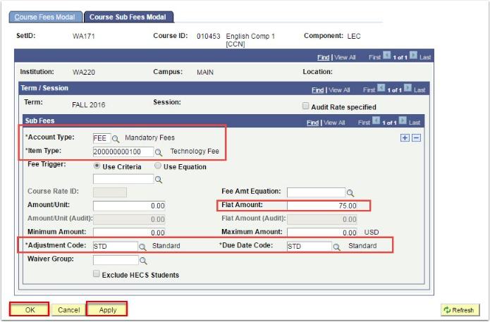 Course Sub Fees Modal tab
