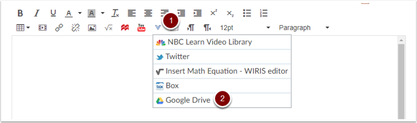 Canvas Text Entry More External Tools, Google Drive
