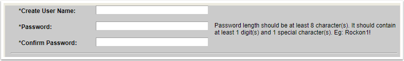 Create User Name and Password fields
