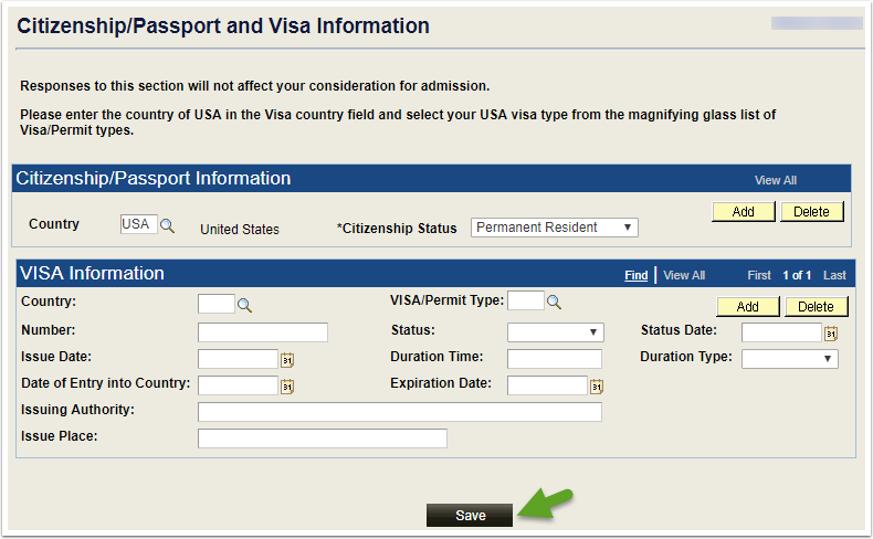 Citizenship/Passport and Visa Information page