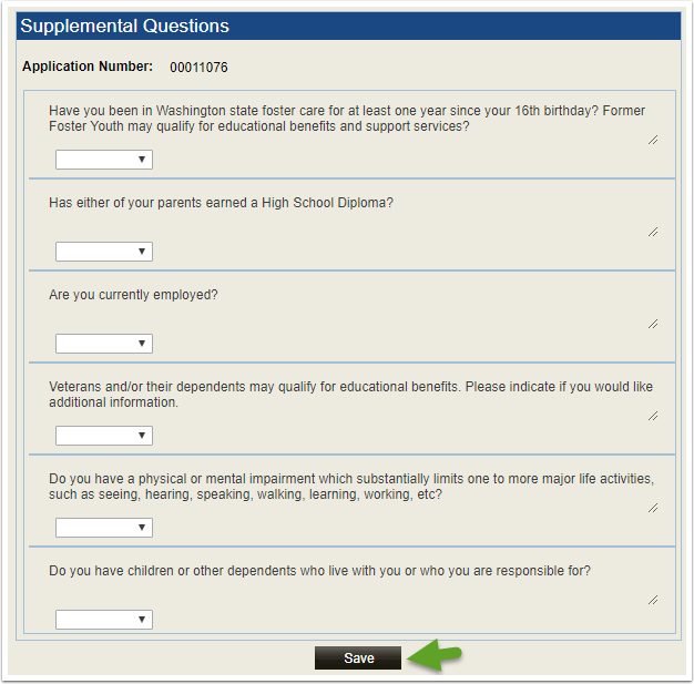 Supplemental Questions page