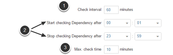 Below the statement specify when and how often to perform the Data Dependency check