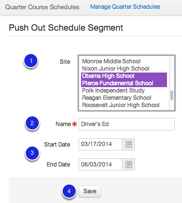 Push Out Schedule Segments