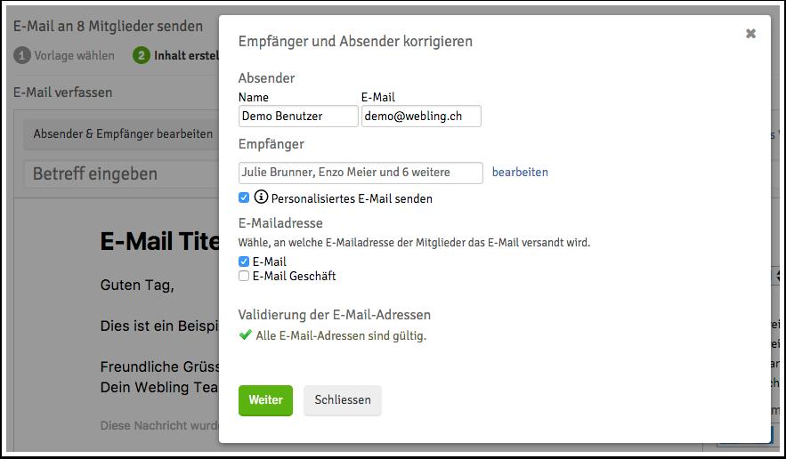 E-Mail senden – Webling Support