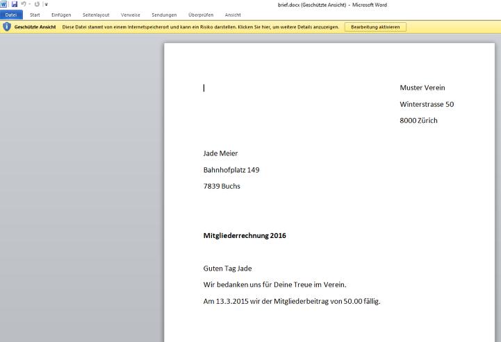 Word Rechnung Drucken Webling Support