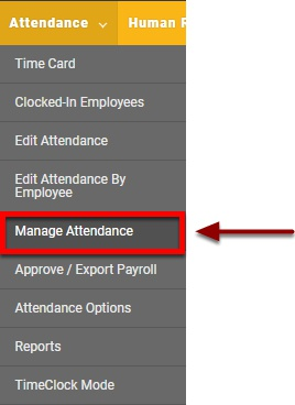 "Navigate to the ""Manage Attendance"" page"