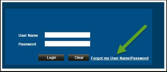 Forgot my User Name/Password link