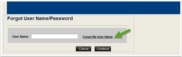 Forgot My User Name link
