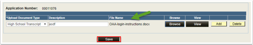 Upload Document Type page