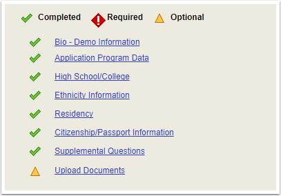 Completed sections of Application