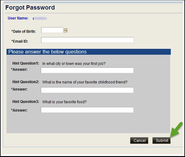 Forgot Password Questions fields